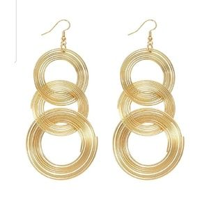 GOLD Color Earrings Hoops Circles Layered Drop